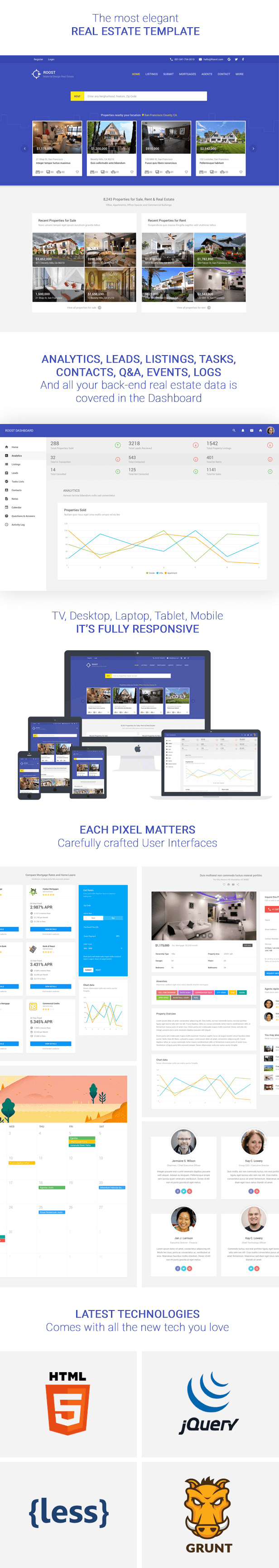 Roost Material Design Real Estate + Dashboard - 1